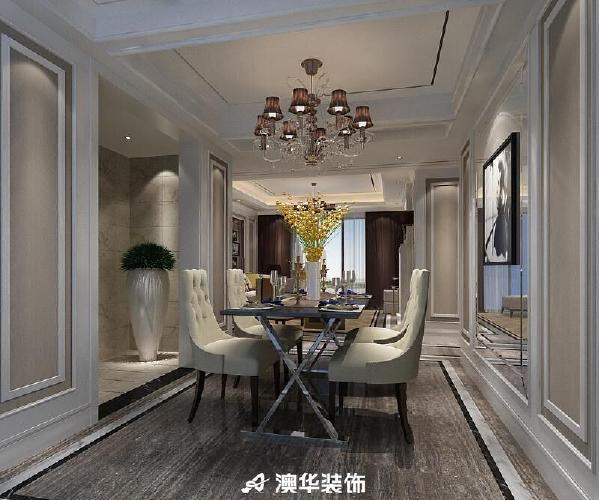 新古典欧式三居天花吊顶瓷砖电视背景墙餐厅