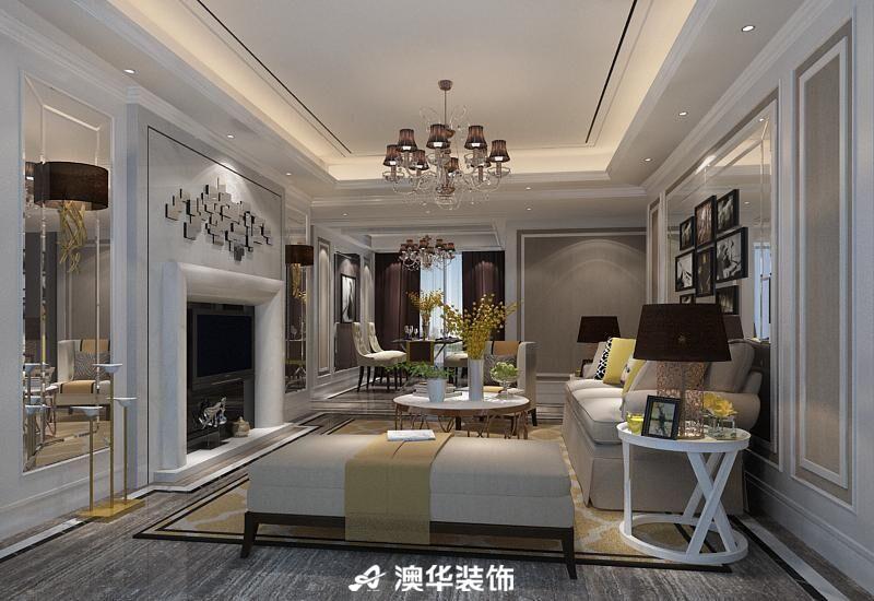 新古典欧式三居天花吊顶瓷砖电视背景墙客厅图片