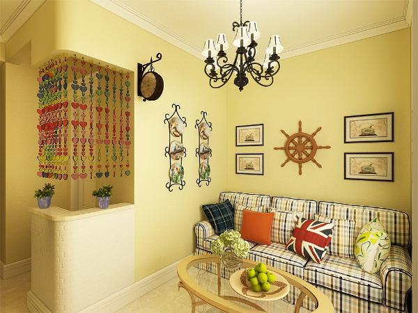 本案设计为田园温馨的设计风格为主调,在总体布局方面,尽量满足两口之家生活上的需要,主要色调为暖黄色以及碎花的设计,以木质地板作为装饰,创造一个清新,健康的现代家庭环境,在电视背景墙的装饰上,