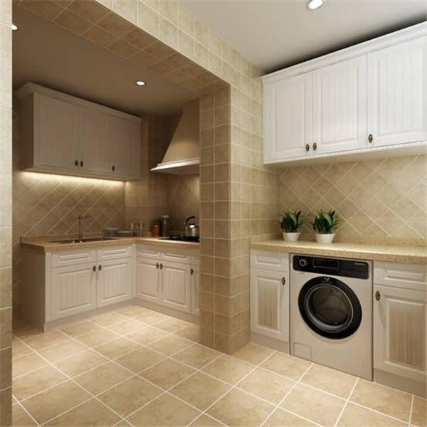 白色柜体配上复古地砖显得厨房整洁大方~