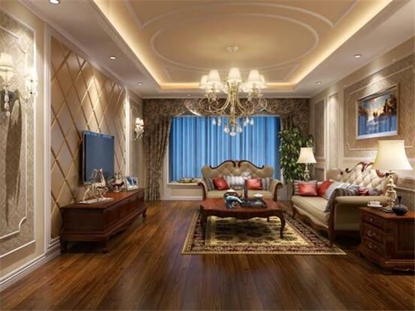 原木地板,欧式沙发,电视背景墙再加上一个可以坐在上面喝茶看景的飘窗,把高雅与休闲体现的淋漓尽致~