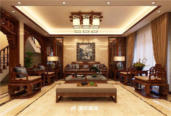 别墅中式传统家具灯池吊顶古典风格中式古典客厅装修