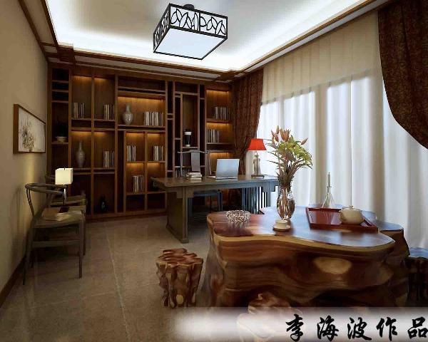 生活家装饰--东郡府230平米独栋别墅中式风格书房装修效果图