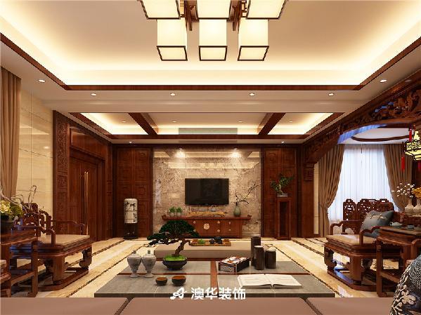 别墅中式传统家具灯池吊顶古典风格中式古典客厅图片