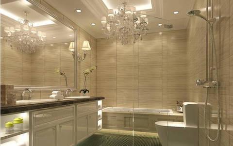 白色浴室柜深色大理石台面,放上浴缸,工作一天回到家里泡个热水澡,缓解一天的疲惫该是一件多么舒服的事情。