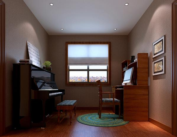 新中式混搭钢琴房效果图