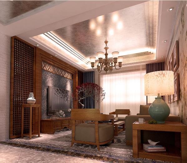 新中式混搭客厅效果图