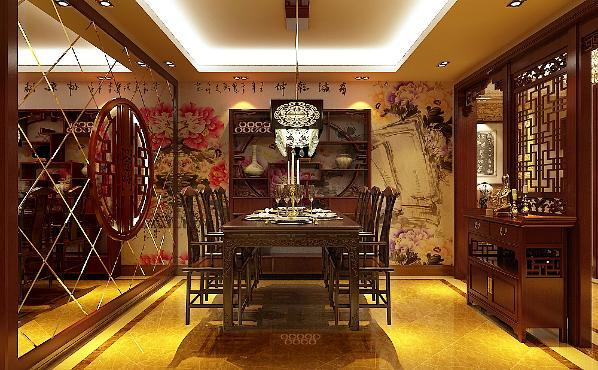 生活家装饰--华贸城210平米中式风格餐厅装修效果图