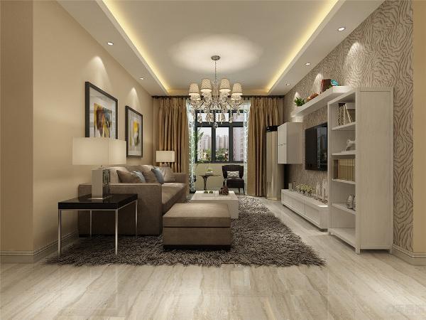 客厅中的沙发,虽然没有了欧式的华丽与繁琐,但是它的简单大方依然很美丽。客厅地面铺的是仿木纹石地砖,客餐厅吊顶是直线造型有灯池,玄关柜是通顶的,美观又实用。