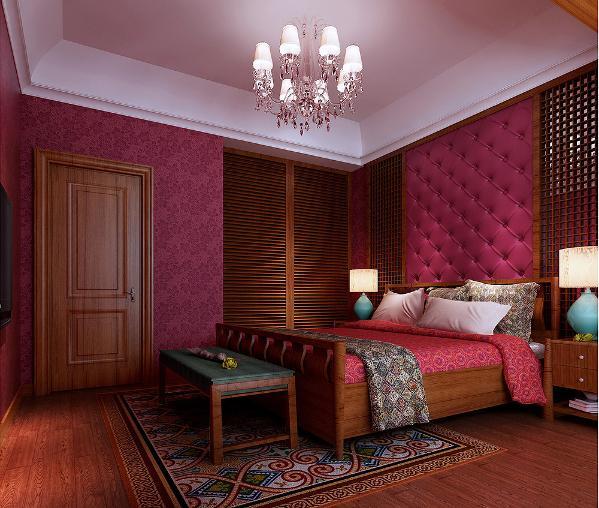 新中式混搭卧室效果图