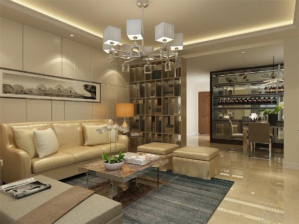 客厅的设计,采用了回字形吊顶,周边走了一圈的顶角线,电视背景墙采用了大理石和镜面的材质,为整个增加了现代的质感。
