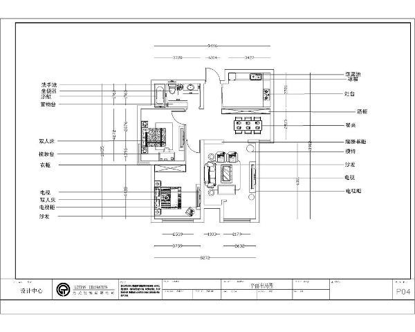 从入户门开入,右手边为隔断墙,左手边为厨房,厨房有拉门,向前走,左手边为餐厅,餐厅与客厅有隔断书柜相连,保证独立的操作空间。