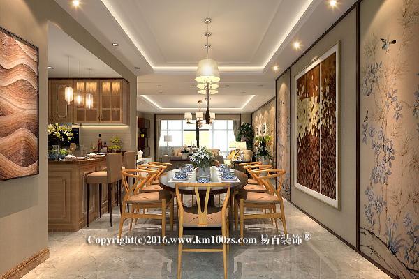 使用传统的木质家具桌椅,内敛而不张扬。背景墙与客厅连为一体,如同一个画廊,配合设计感很强的画作,使整个单调的墙面变得灵活生动起来。