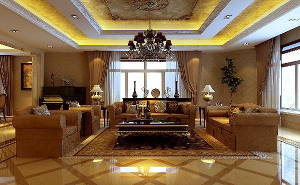 北京生活家—八达岭孔雀城180平米美式客厅效果图