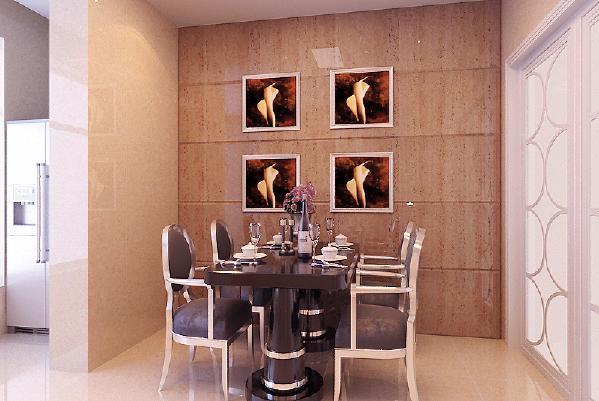 餐厅空间布置,极具艺术感,宽敞桌面看起来很舒服,令人心情舒畅,食欲满满;墙面装饰画,错落有致,个性感强;餐厅吊顶上的吊灯造型简约时尚,不落俗套。