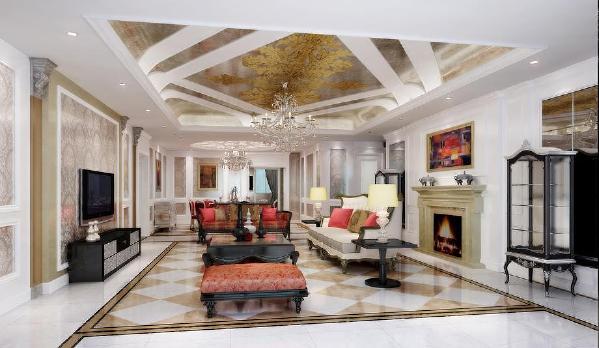 北京生活家-V7九间堂240平米欧式风格客厅效果图
