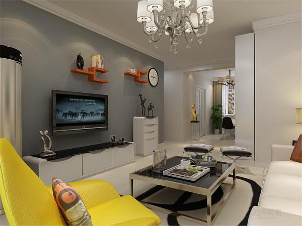 客厅空间讲究的是时尚的现代化气息,电视背景墙采用现代灰色乳胶漆使墙面更柔和,配合咖色乳胶漆,彰显个性。