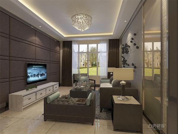 客厅空间讲究的是时尚的现代化气息,电视背景墙采用硬包造型使墙面更柔和,配合浅咖色乳胶漆,彰显个性。