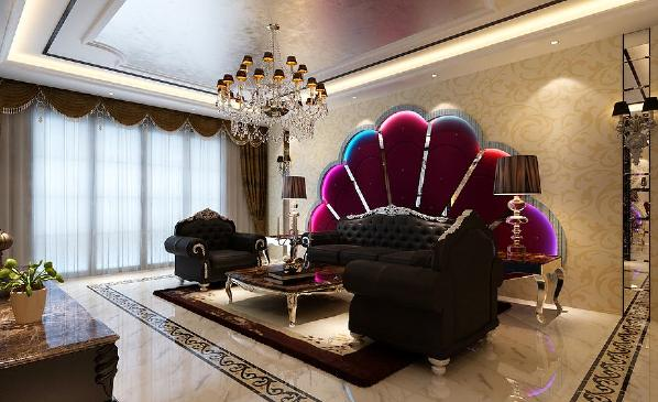 北京生活家—金色漫香林210平米简欧风格客厅效果图