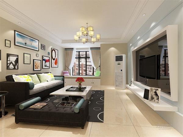 客厅空间讲究的是时尚的现代化气息,电视背景墙采用石膏板流体曲线面造型使墙面更柔和,配合浅蓝色乳胶漆,彰显个性。