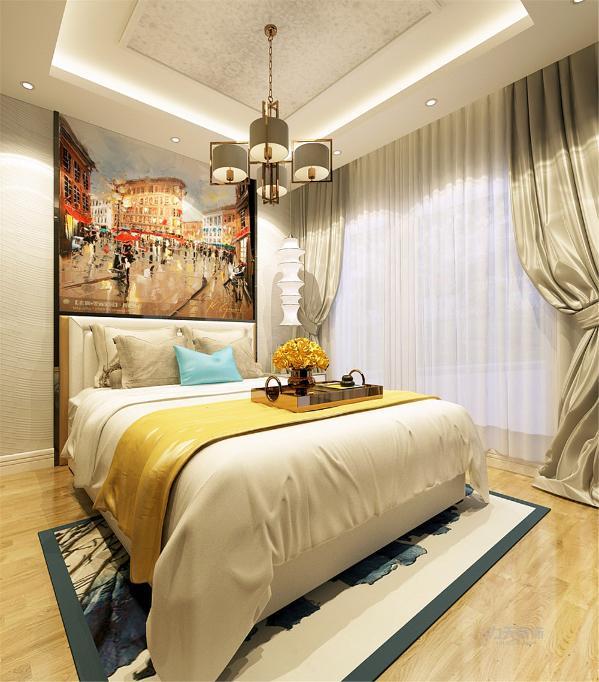 主卧室主要以暖色调为主,通铺复合木地板,黄色布艺的双人床,整体空间搭配合理,色彩鲜明,暖黄的灯光凸显温馨的感觉,背景墙有层次感显得不单调。