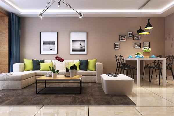本案的设计风格为现代简约风格。案户型的流线较为简单、实用。客厅、卧室、厨房形成独立而又完整的空间,空间功能分布合理。
