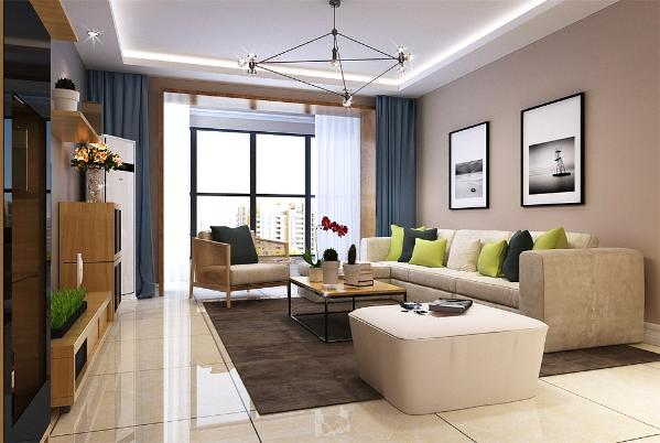 本案的设计风格为现代简约风格。案户型的流线较为简单、实用。客厅、卧室、厨房形成独立而又完整的空间,空间功能分布合理