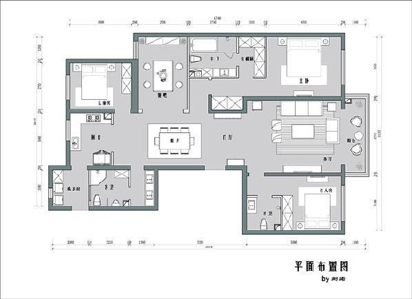 针对问题,改卧室为餐吧,时尚而具备多种功能,将两个壁柜取消,改为垭口,增加餐厅、客厅空间感,进门更感通畅。将厨房和前厅链接,改前厅为洗衣房,给厨房设置推拉门,增加了客餐厅的通透性,补充了采光。