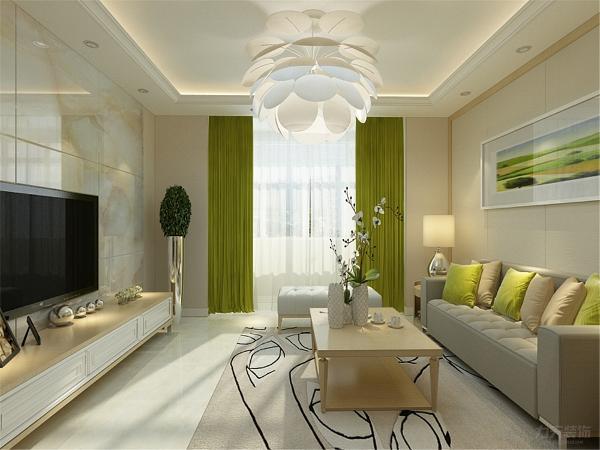 本案黄色乳胶漆作为墙面的主要颜色,更为温馨,电视背景墙更采用石材,更显时尚感。并且以绿色为跳色,更让人有眼前一亮的感觉。