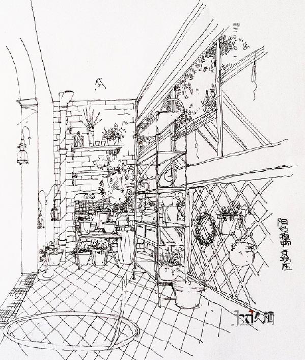 阳台设计师手绘