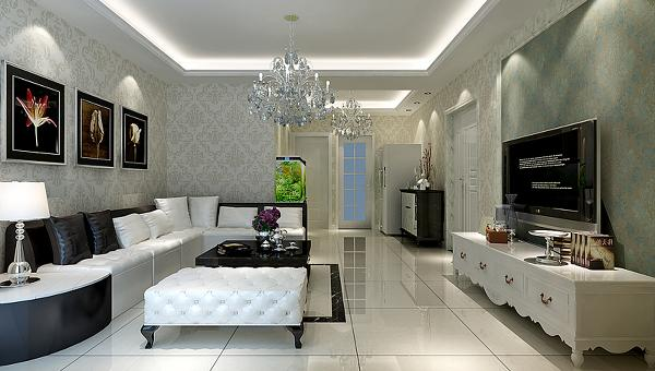 设计理念:精美的壁纸和沙发组合凸显欧式的纯然风情及深厚的文化底蕴,体现出文化元素在家装设计中的实用与精致。选材方面,除了欧式惯用的白色材质外,还用了玻璃、镜子等现代材料,大大提升了原质感的对比效果。