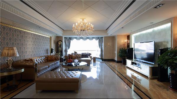 北京城建·琨廷176平欧式四居-北京龙发建筑装饰装修效果图