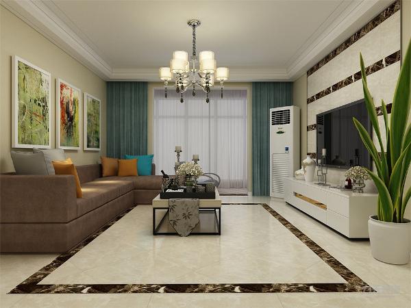 客厅空间讲究的是时尚的现代化气息,电视背景墙采用瓷砖造型使墙面更明亮富有层次感,地面800*800的米黄色地砖使空间看起来更有时尚感,透着现代化的气息。