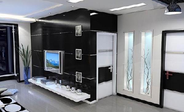 墙面在进行装饰时,可采用黑白色的墙纸,背景墙面在进行装饰设计时,可设计知识城凹凸状的,给人以立体的动感。
