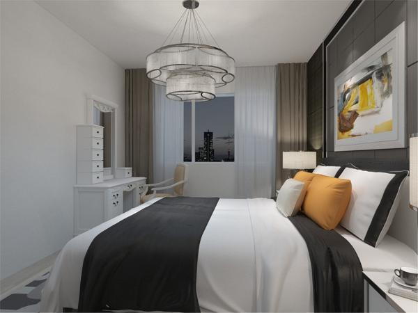 白色和明亮玻璃的结合创造出了现代的洁净与明亮。在卧室的设计中,同样我们采用了木色的木地板与主卧背景墙相结合,