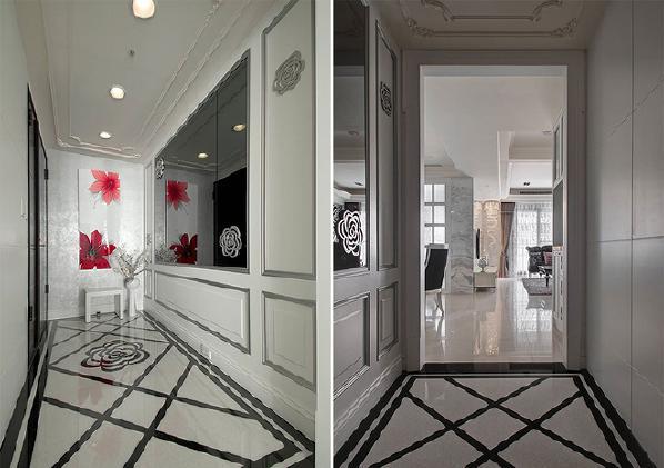 客厅迎宾的奢华体现在些许的金色线条中,镜面衬托大片山茶花纹样雕饰板,于沙发背墙对称安定的铺叙空间主景。