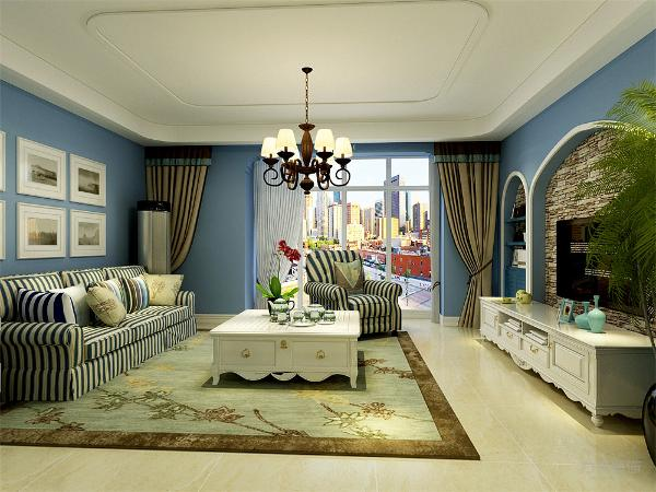 客厅空间讲究沉稳大方,整体为淡蓝色乳胶漆,突出海洋气息,蓝白相间但是造型不复杂的家具使整个空间复函一种怀旧的地中海气息。
