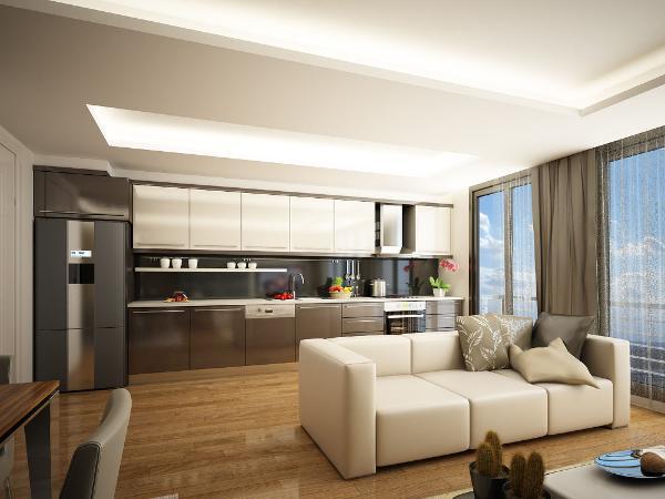 黑色、白色、金色和灰色,这几种色彩是现代简约风格的主打色调,为了避免整个色调的单一性,可以用挂画来调和客厅中的单一色调。