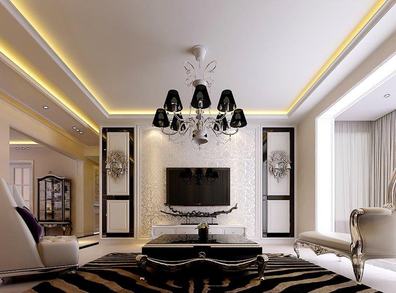 现代风格的电视墙设计中,从造型上来看,现代风格一直追求的是材料