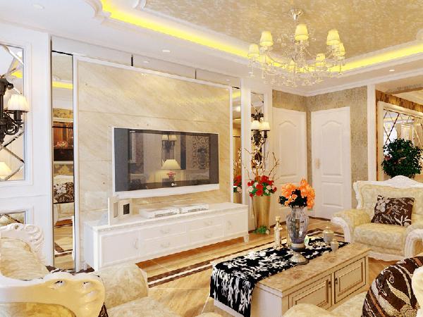 简欧风格的硬装上,细节应是相称的。墙面装饰材料可以选择一些较有特色的来装饰房间。