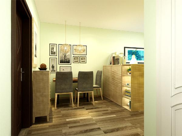 本案为龙庭家园一室两厅一厨一卫47平的户型。在整体平面布局上强调空间的自然融合。