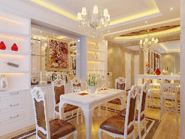 客厅吊棚加广线与客厅地面上的波打线,可以达到相互呼应的效果。
