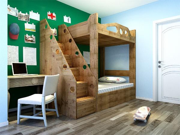 卧室的采光相对较好,而且主要是给小男孩当儿童房,所以卧室只做简单的人性化处理,整套方案风格统一,实用性与舒适度较强。