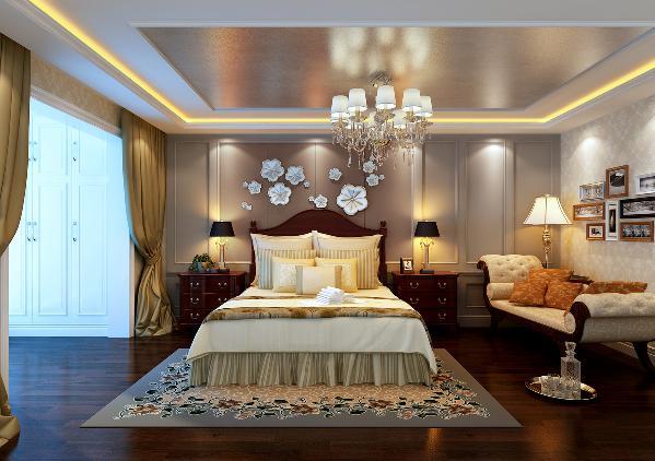 在主卧室护墙板,墙壁挂饰与木质床不仅仅是简单的图片