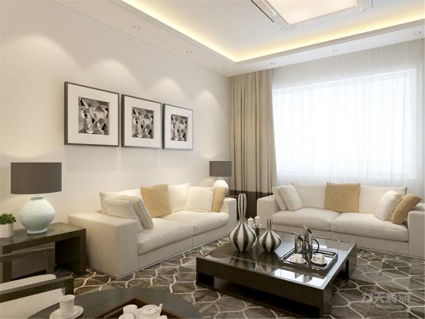 在电视背景墙的装饰上,我们采用了大理石和简约木架装饰背景墙,表现了一种清新气息感,沙发采用亚麻的图案造型,加褐色地毯让整个空间出现了亮点。