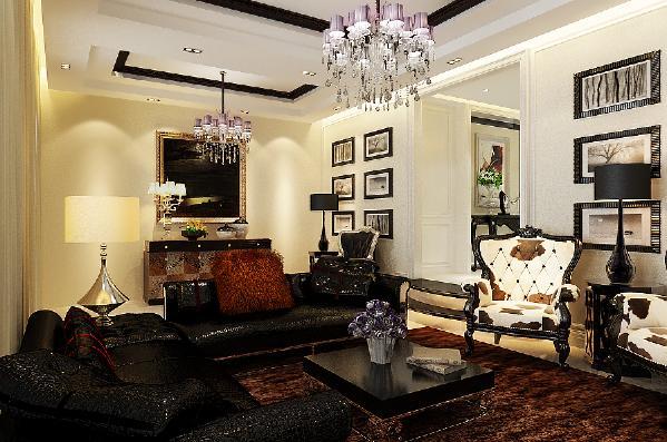 客厅:沙发背景墙两侧铺贴壁纸,中间石膏板凹凸造型配以银色镜面装饰,电视背景墙为石膏板凹凸造型刷白色内墙漆,整个空间显得宽敞干净,层次分明。
