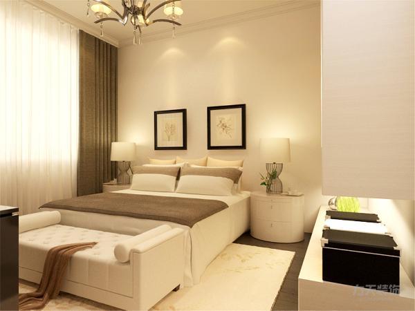 在卧室的设计中,同样我们采用了木色的木地板与现代简约床体相结合,白色的衣柜配搭白色系的双人床使偏冷色系的空间有了少许温暖和亲切。