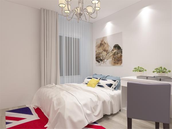 在卧室的设计中,同样我们采用了木色的木地板与主卧背景墙相结合,白色的化妆台配搭白色系的双人床使偏冷色系的空间有了少许温暖和亲切。
