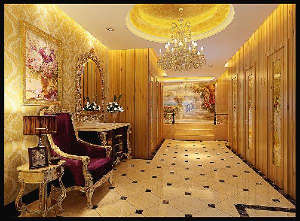 浓厚的新古典韵味处处洋溢,营造出宫庭般的奢华效果。式样繁复的水晶灯、雕花贴金的家俱、高档的花纹墙纸……无不是主人高贵身份的象征。
