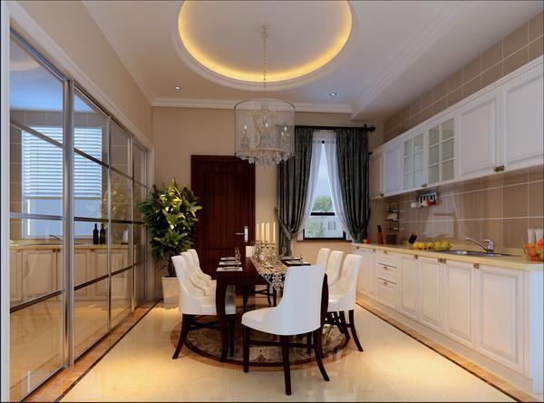 客厅和餐厅在同一区域,设计上从顶面吊顶来区分两个空间,餐厅上的吊顶采用了祥云的印花玻璃让两个区域更明显的区别,也使餐厅有了更好的装饰效果。